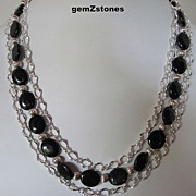 Sparkling Midnight Blue Goldstone Triple Strand Necklace