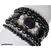 Sparkling Midnight Blue Goldstone Five Strand Bracelet