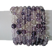Beautiful Purple Amethyst Eight Strand Cuff Bracelet