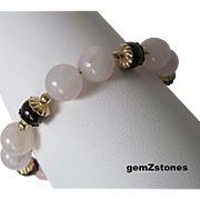 Beautiful Red Garnet And Rose Quartz Single Strand Bracelet