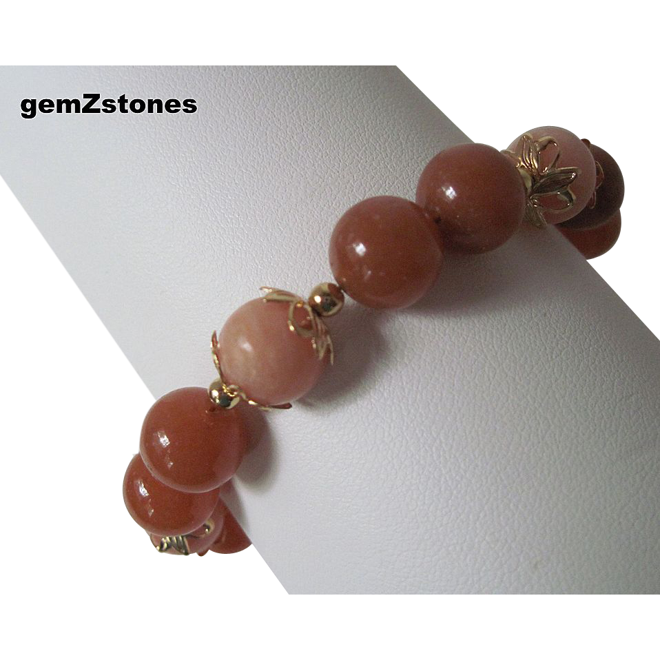 Pretty Peach Quartz And Red Adventurine Single Strand Bracelet