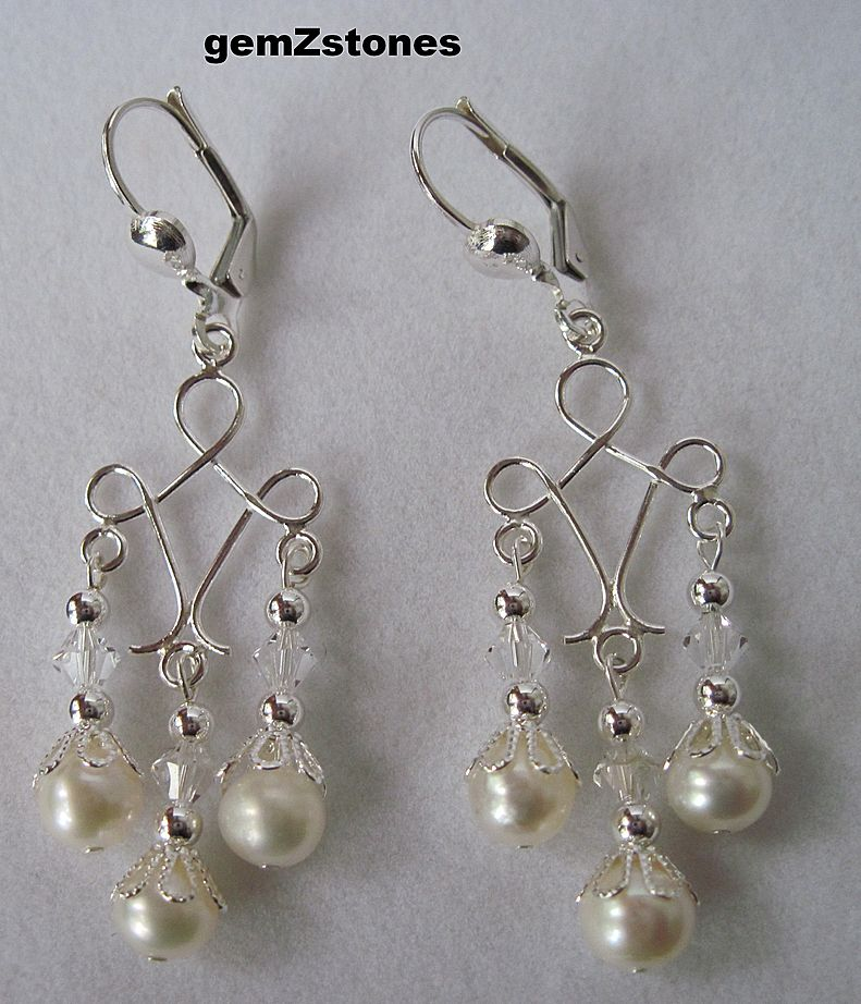 White Lotus Pearl, Swarovski Crystal And Sterling Silver Chandelier Earrings