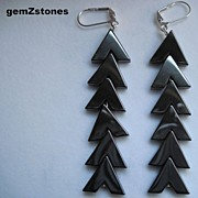 Beautiful Gun Metal Grey Hemalyke Long Dangle Earrings