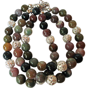 Fancy Multi Colored Jasper Triple Strand Bracelet