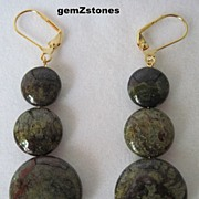 Unique Dragon Blood Jasper Dangle Earrings