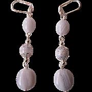 Blue Lace Agate Dangle Earrings