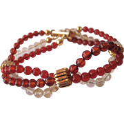 Baltic Amber, Citrine And Carnelian Triple Strand Bracelet