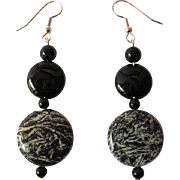 Unique Fireworks Jasper And Black Onyx Dangle Earrings