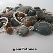 "Unique Aqua Terra ""Jasper"" And Tigerskin ""Jasper"" Single Strand Long Necklace"