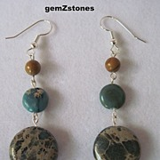 "Unique Aqua Terra ""Jasper""  And  ""Tigerskin ""Jasper"" Dangle Earrings"