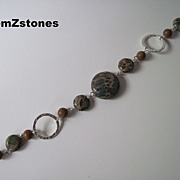 "Unique Aqua Terra ""Jasper"" And Tigerskin ""Jasper"" Single Strand Bracelet"