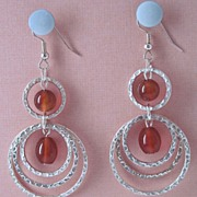 Fun And Vibrant Red Carnelian Dangle Earrings