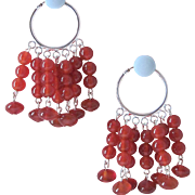 Fun And Vibrant Bright Red Carnelian Dangle Earrings