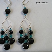 Beautiful Long Rainbow Obsidian And Turquoise Blue Swarovski Crystal Dangle Earrings