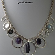 Unique Purple Amethyst And Chain Single Strand Statement Necklace