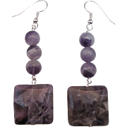 Unique Purple And White Chevron Amethyst Dangle Earrings