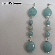 Pretty Aqua Amazonite Long Dangle Earrings