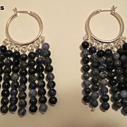 Blue Jean Baby Sodalite Dangle Hoop Earrings