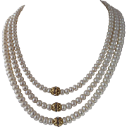 Beautiful White Lotus Cultured Pearl And Swarovski Crystal Triple Strand Necklace