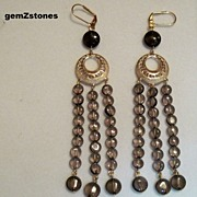 Beautiful Smoky Quartz Extra Long Dangle Earrings