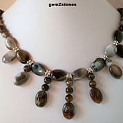 Unique Striped  Botswana Agate Single Strand Statement Necklace