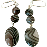 Unique And Beautiful Botswana Agate Dangle Earrings
