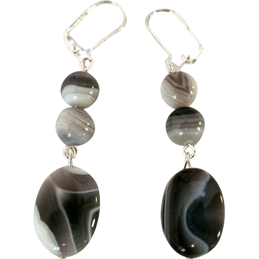 unique and beautiful botswana agate dangle earrings from