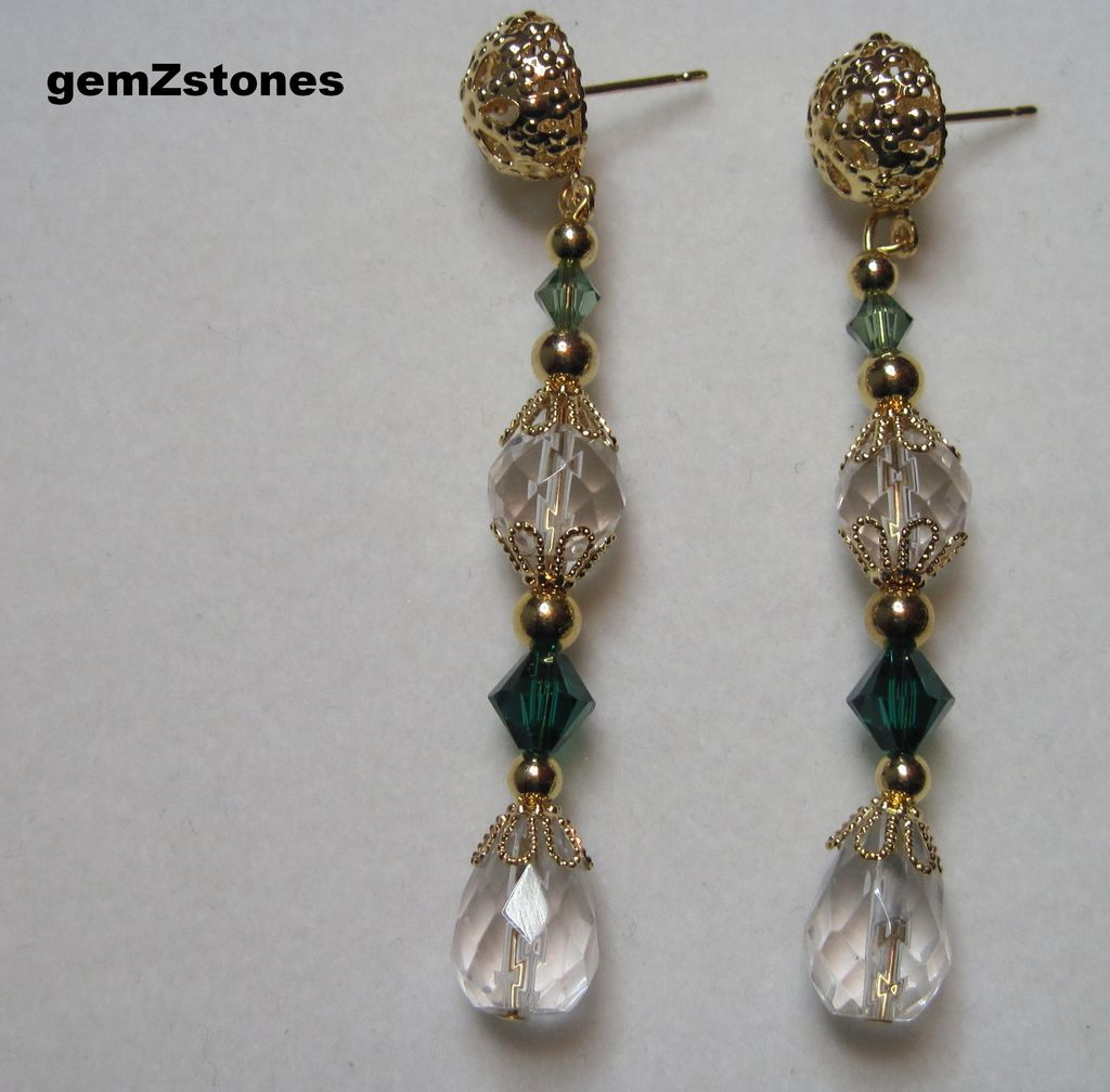 Pretty Clear And Green Swarovski Crystal Dangle Earrings