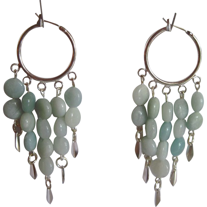 Beautiful Aqua Colored Amazonite Dangle Hoop Earrings