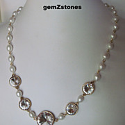 Elegant White Lotus Pearl And Clear Swarovski Crystal Single Strand Necklace