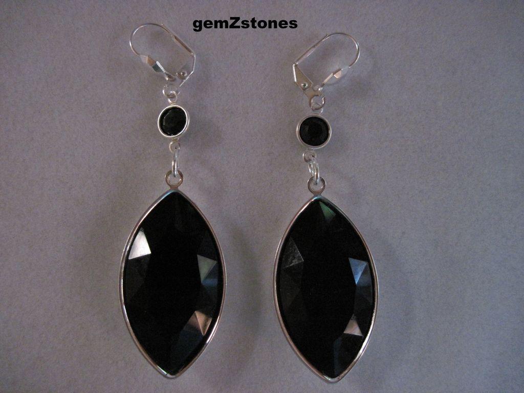 Elegant Faceted Black Swarovski Crystal Dangle Earrings