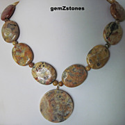 Chunky Old Crazy Lace Agate Single Strand Necklace With Large Pendant