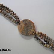Chunky Old Crazy Lace Agate Triple Strand Bracelet