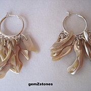 Beautiful Natural Mother Of Pearl And Silver Dangle Earrings