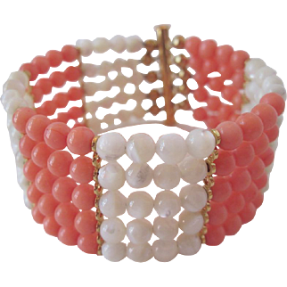 Pretty Five Strand Mother Of Pearl And Salmon Color Coral Bracelet