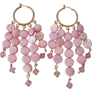 Beautiful Light Pink Mother Of Pearl And Pink Swarovski Crystal Dangle Earrings