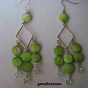Lime Green Mother Of Pearl And Green Swarovski Crystal Dangle Earrings