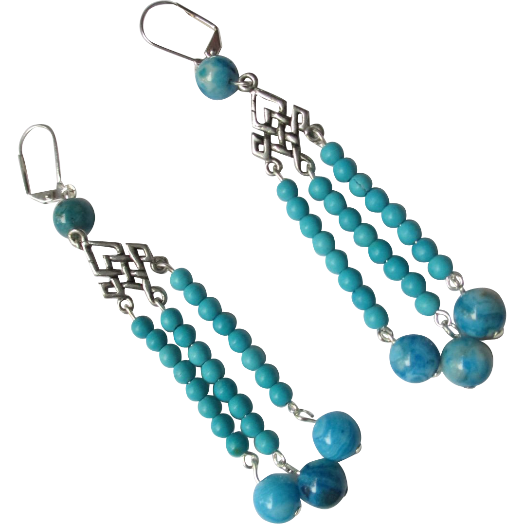 Bright Turquoise Blue Crazy Lace Agate Dangle Earrings