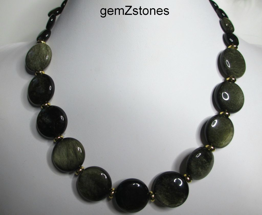 Beautiful Golden Sheen Obsidian Single Strand Necklace