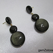 Elegant Golden Sheen Obsidian Dangle Post Earrings