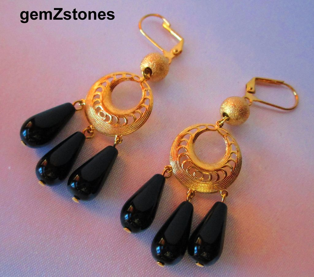 Fancy Black Onyx And Gold Dangle Earrings