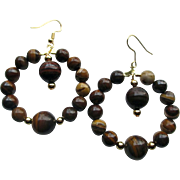 Large Natural Jupiter Jasper Hoop Earrings
