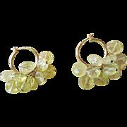Beautiful Hand Cut Faceted Lemon Quartz Crystal Hoop Earrings