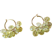 Beautiful Hand Cut Faceted Lemon Quartz Crystal Hoop Earrings