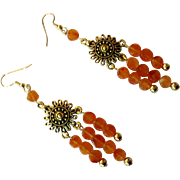Pretty Reddish Orange Carnelian Dangle Earrings