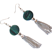 Beautiful Blue Green Mother Of Pearl Tassel Earrings
