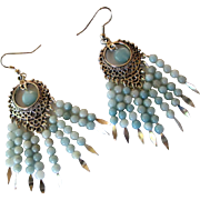 Pretty Aqua Amazonite And Silver Chandelier Earrings