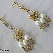 Elegant Gold, White Lotus Pearls And Swarovski Crystal Dangle Earrings