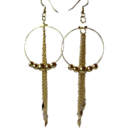 Pretty Gold Hoop And Chain Earrings