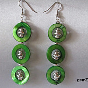 Fun Long Lime Green Mother Of Pearl Shell And Silver Earrings